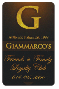 Friends and Family Loyalty Club Card family restaurant